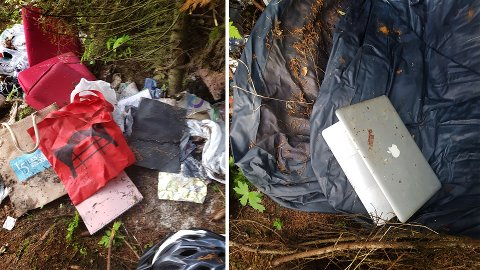 Her er to bilder av ting som er slengt i skogen på Tromsøya. Foto: Aina Hætta Høgseth