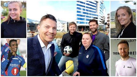 KLAR FOR PRISKVELD: Disse gleder seg til å hedre breddefotballen med fotballgalla på The Edge fredag 9. november: Gabrielle Lie (prisutdeler, øverst til venstre), Mohammed Ahamed (prisutdeler, nede til venstre), Guro Pettersen (konfransier, øverst til høyre), Tom Høgli (prisutdeler, nede til høyre), hotelldirektør Øyvind Alapnes, Lars Eidissen (Nordlys), Veronika Løveng-Hansen (Troms Fotballkrets) og Jørgen A. K. Hjertsen (konfransier).