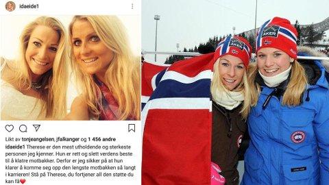 LANGRENNSSØSTRE: Søstrene Ida og Mari Eide (bildet til høyre) avbildet under VM på ski i Oslo i 2011. Bildet til venstre viser et av Ida Eides mange Instagram-bilder med venninna Therese Johaug.