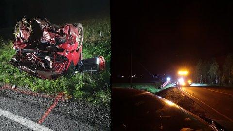 TOTALVRAK: Bilen var totalvrak etter utforkjøringen på Fagerfjellveien i Målselv natt til tirsdag. Et under at det ikke var en dødsulykke, sier vitnene på stedet.