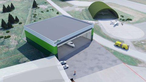 Widerøe skal bygge ny hangar i Bodø. I dag kjøper selskapet vedlikeholdstjenester fra en ekstern leverandør i utlandet. Nå flyttes oppgavene hjem til Bodø og gir behov for 40 nye årsverk. Foto: Widerøe/Illustrasjon