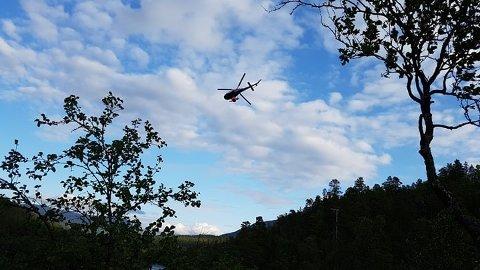 MONNER: Brannhelikopteret er igang med slukkinga av skogbrannen i Dividalen. Foto: Liv Petra Lundberg