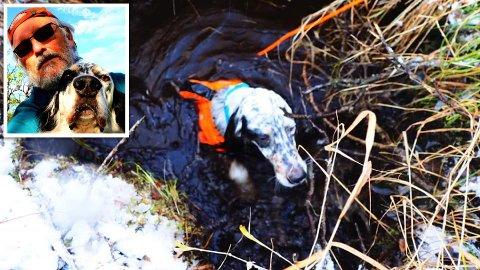 NESTEN DØD: Jan Robert Eide hadde kamera rundt halsen, og tok et bilde like før han reddet opp hunden Rago fra det dype hullet som holdt på å ta livet av ham.
