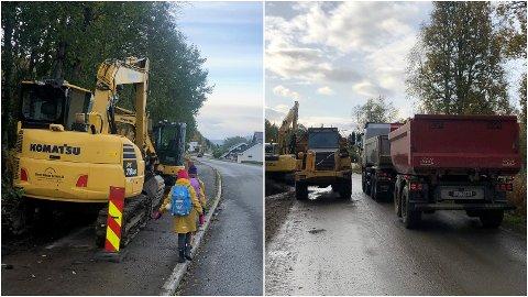 USIKRET: Beboeren har gjennom flere bilder som er tilsendt kommunen vist hvordan anleggsaktiviteten preger skoleveien til barna.