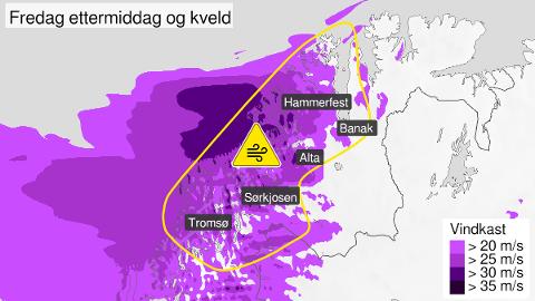 STORMVARSEL: Det kan bli opptil vestlig liten storm på kysten av Nord-Troms fredag. Illustrasjon: Meteorologisk institutt
