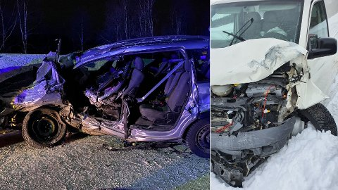 FRONTKOLLIDERTE: Nilas Bergquist (20) kjørte den hvite VW Transporteren, og kom fra ulykken uten fysiske skader.