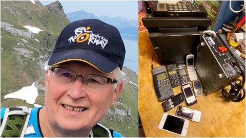 40 ÅR MOBILHISTORIE: Ivar Landbakk fra Tromsø kjøpte sin første mobiltelefon til utleiebiler i 1982. Nå selger han hele samlinger med eldre mobiltelefoner.