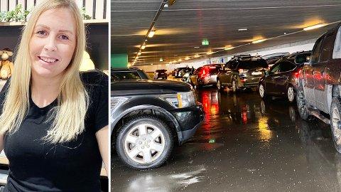 TILBAKE PÅ JEKTA: Folk strømmer igjen til Jekta, og lørdag var det kø på parkeringa på storsenteret. Butikksjef Johanne Erikstad på Tilbords er glad kundene er tilbake, men samtidig overrasket over at så mange er innom.