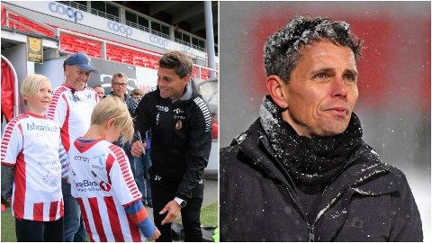 KONTRASTENE: Simo Valakari var brennhet og linket til Rosenborg-jobben sommeren 2018. Til høyre depper han etter nedrykkskampen mot Stabæk i desember i fjor.