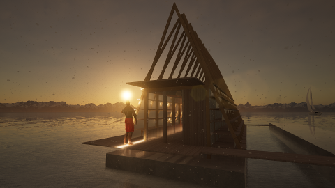 Slik skal det nye flytende badeanlegget i Tromsø havn se ut.