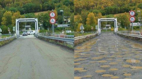 HULL: Bildet til venstre er tatt torsdag forrige uke, og bildet til høyre er tatt mandag.