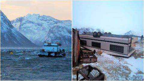 HEFTIG: En campingvogn har veltet like ved anlegget til Flakstadvåg Laks på Senja, og ute ved mærene er det heftig hav.