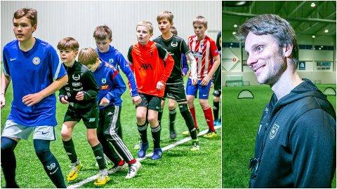 FULL FART: David Lundblad i TUIL leder nå fotballskole på dagtid for barneskole-elever på fastlandet. - Vi håper å kunne ha dette både to og tre ganger i uka hvis etterspørselen blir stor nok, sier Lundblad.