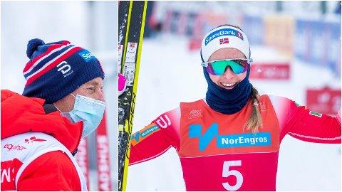 IMPONERTE: Anna Svendsen imponerte med å vinne dagens norgescuprenn på Lygna med hele landslagseliten samlet, men trener Ole Morten Iversen (til venstre) vil ikke dele ut noen VM-billett ennå.