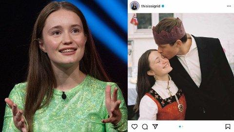KJÆRESTEAVSLØRING: Sigrid Solbakk Raabe avslører overfor Anne Lindmo hvordan hun møtte kjæresten for første gang. Foto: NRK, Instagram