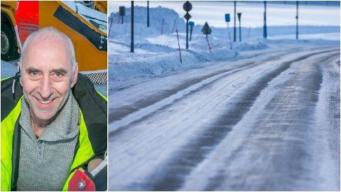UTFORDRENDE: Odd-Helge Vekve og brøyterne i Bydrift har lagt bak seg en heftig uke. Kvaløyvegen sør på Tromsøya er blant veiene som har vært særlig utsatt for snøværet og vinden.