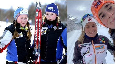DA OG NÅ: Tvillingene Anna og Frida Svendsen konkurrerte mye mot hverandre i ungdommen, til venstre fra sprintcup i Tromsdalen i 2006. 15 år senere (til høyre) smiler søstrene over VM-debuten til Anna Svendsen i en alder av 30 år.