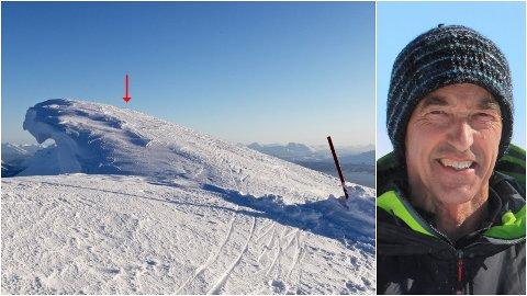 ADVARER: Stein Tronstad dokumenterte skisporene på toppen av Tromsdalstinden som gikk rett opp en hengeskavel.