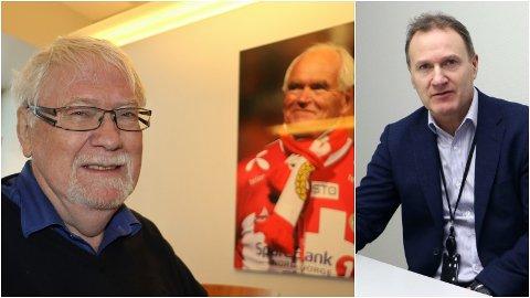 ARENAEIER: Styreleder i Alfheim Arena, Kjell Kolbeinsen (til venstre) med bildet av Trond Mohn i TIL-losjen. TIL-styreleder Stig Bjørklund til høyre.