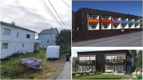 RIVEPLANER: Minst ett kommunalt bygg i M. Urdalsveg 45 skal rives. Slik er Asplan Viaks skisse for hvordan en lavblokk med 35-50 kvadrats nye, kommunale utleieboliger kan se ut.
