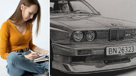 Helene Johnsen har stor lidenskap for bil. Nå har hun fått mye oppmerksomhet for tegningene sine av ulike modeller. Her er en BMW E30 M3.