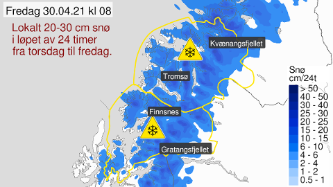 LAVER NED: Her er varselet for fredag. For å si det enkelt: Snø overalt.