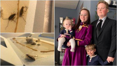 PLAGES: Småbarnsfamilien Viktoria Helen Lilleng, Adrian Voll Pedersen, Nadine (6) og Nelia (3) har lyst til å unngå kakkerlakker i flyttelasset.