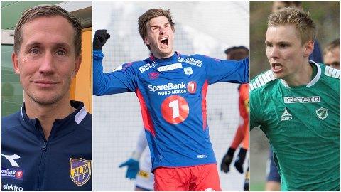 TILBAKE: Morten Gamst Pedersen (Alta IF), Vegard Lysvoll (TUIL) og Tobias Schjetne (Fløya) er tilbake i kamp for første gang i 2021 denne helga.