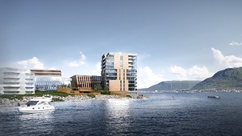 BOLIGTÅRN: Høyden på boligblokka på 12 etasjer er noe av grunnen til at kommunens administrasjon vil avvise reguleringsplanen for Sjøkanten senter.