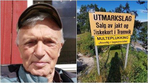 REAGERER: Odd Arne Berntsen (77) fra Kvaløya beskriver seg som en ivrig bærplukker. Han mener forbudsskiltingen i Tromvika mot multeplukking må være i strid med loven.