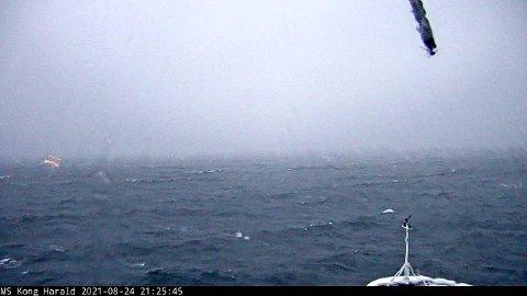 KAMERA OMBORD: Bildet er tatt fra et kamera om bord på MS Kong Harald kamera som oppdateres regelmessig. Foto: Hurtigruten