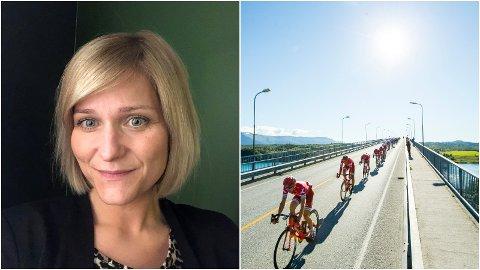KRITISK: Trine Mari Jørgensen pendler mellom jobb på Stakkevollan og SFO-henting på Storelva, og må ta seg fri på torsdag for å logistikken til å gå opp. Til høyre er Arctic Race-rittet på vei over brua i Saltstraumen under 2016-utgaven.