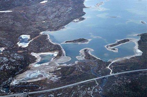 GÁLGGOJÀVRI: Innsjøen sett fra lufta 24. september. Foto: Troms Kraft