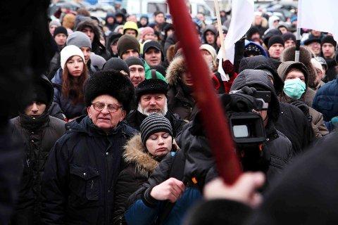 PROTESTER: I desember 2011 var det protester over hele Russland mot valgfusk. Her fra Arkhangelsk 10. desember. Foto: Rune S. Alexandersen