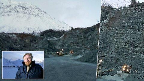 Lyngen-ordføreren sendte disse bildene til Direktoratet for mineralforvaltning. Dermed ble det stoppordre. Styreleder Robert Hermansen sier det er opp til kommunen å bli ferdig med en ny reguleringsplan før forholdene i Tyttebærvika kan rettes opp.
