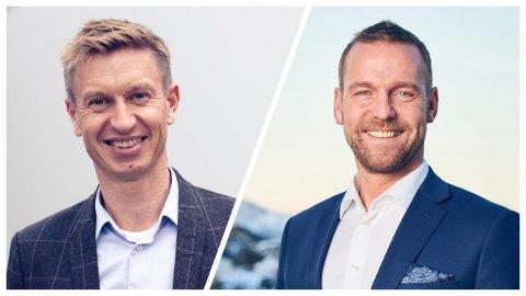 EVENTYRLIG FORTJENESTE: Finansdirektør Bengt Olsen og konsernsjef Petter Høiseth. Landsdelen går godt - men disse to har fått hjelp fra oven, altså bankalliansen, når de kan presenterer et overskudd på to milliarder kroner på ni måneder.