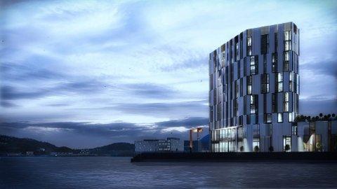 UT I HAVET: Dette er en illustrasjon av det nye hotellet i Harstad fra utbyggerne.