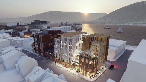 NYTT HOTELL: Pellerinkvartalet i Storgata ved Matservice.  Det nye leilighetshotellet vil gå fra og med ddet hvite bygget og ut kvartalet til høyre.
