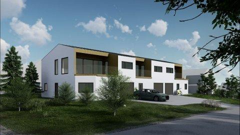 REKKEHUS: Slik har Echcon As illustrert søknaden om tre nye rekkehus i Thorshaugvegen.