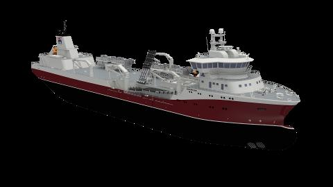 BYGGER NYTT: Det er en brønnbåt av denne typen som skal kontraheres etter at Norsk Fisketransport har landet en ny avtale med havbruksselskapet Cermaq. Illustrasjon: Norsk Fisketransport AS.