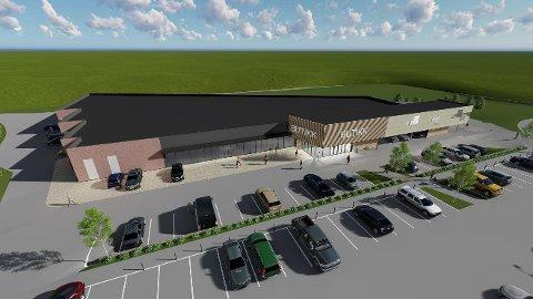 Forretningsbygget på Kirkeby skal huse XXL. ILLUSTASJON: SBG Byggprosjekt