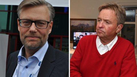 I KLINSJ: – Oppland har tatt et skritt mot høyre i norsk politikk, mener Høyres Svein Håvar Korshavn (t.v.) Det er uttalelser som får leder Tore Hagebakken i Oppland Ap til å reagere.