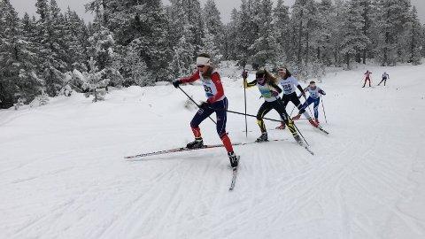 Det var mange tette dueller i Ottestadrennet. Her fra tetgruppa 15-årsklassen, hvor Ragna Fodstad fører an foran Synne Børresen Bollingmo.