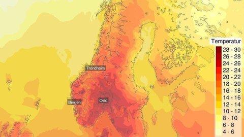 HETEBØLGE: Varmen og finværet kan nå sitt foreløpige toppunkt fra og med mandag kommende uke.