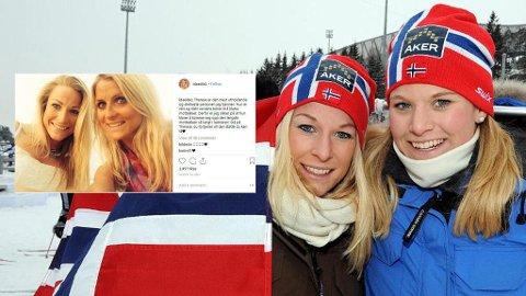 Søstrene Ida og Mari Eide avbildet under VM på ski i Oslo i 2011. Ida Eide var også en svært god venninne av Therese Johaug. Ida eide ble bare 30 år gammel.  Foto/Montasje: Henning Gulbrandsen (Oppland Arbeiderblad)/Instagram