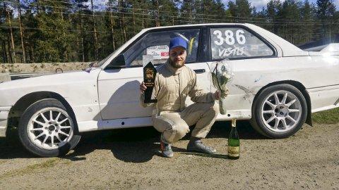 TREDJEPLASS: Joakim Vestli kjørte inn til en glimrende tredjeplass NM-åpningen i rallycross. FOTO: PRIVAT