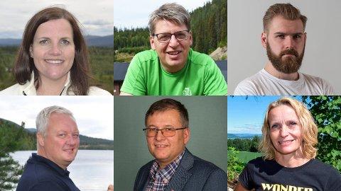 ODDSVINNERE: Linda Mæhlum Robøle (Sp), Ola Tore Dokken (Sp), Stian Olafsen (Ap), Odd Erik Holden (Sp), Even Solhaug (Ap) og Guri Bråthen (Ap) er oddsvinnere i sine kommuner foran valget.