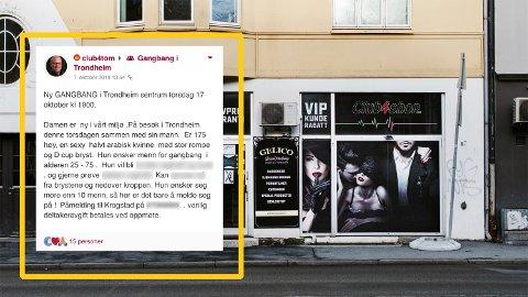 I kjelleren på denne butikken i Innherredsveien i Trondheim betaler menn for å delta på «gangbang». Butikken holder til like i utkanten av sentrum, rett ved det populære utestedsområdet Solsiden. Det innfelte bildet viser hvordan ett av sextreffene ble annonsert.