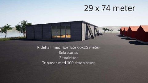 RIDEHUS: Slik ser Gjøvik Rideklubb for seg at det nye ridehuset med 300 sitteplasser kan se ut.