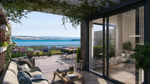 OVER MJØSA: Slik kan utsikten bli fra fem av leilighetene på Bakketunet, som får egen takterrasse.